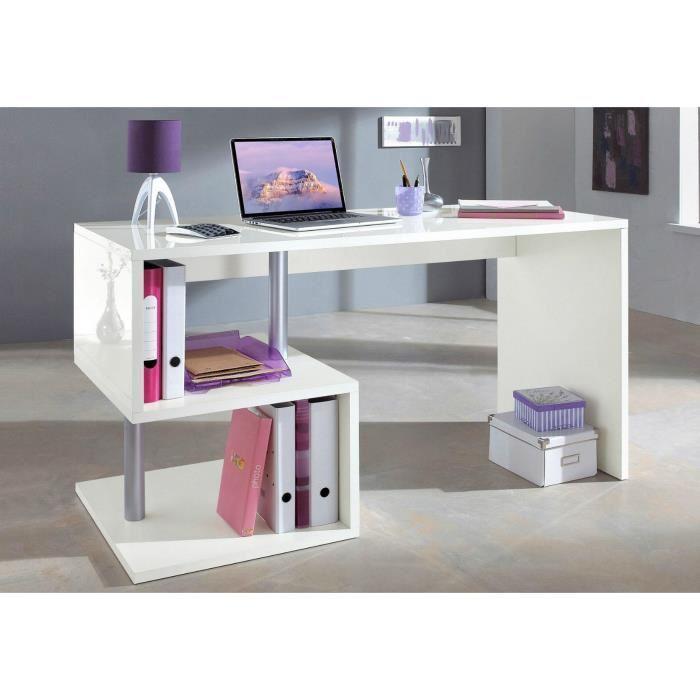 Aucune esse bureau asymetrique 140cm laque blanc 269691 for Article bureau