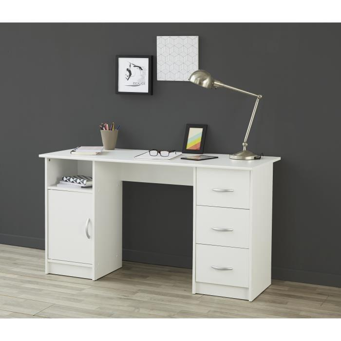 aucune essentielle bureau 135 cm blanc 433007. Black Bedroom Furniture Sets. Home Design Ideas