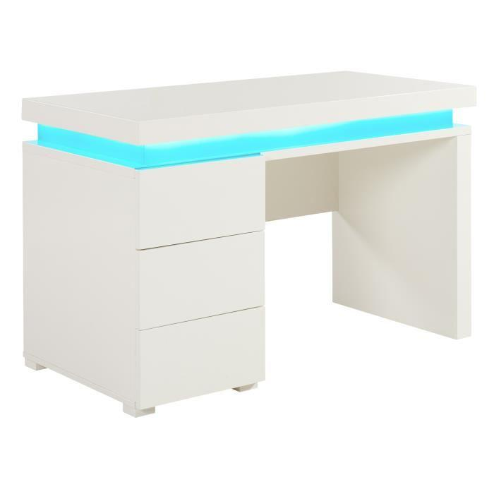 aucune flash bureau 120 cm avec led multicolore blanc. Black Bedroom Furniture Sets. Home Design Ideas