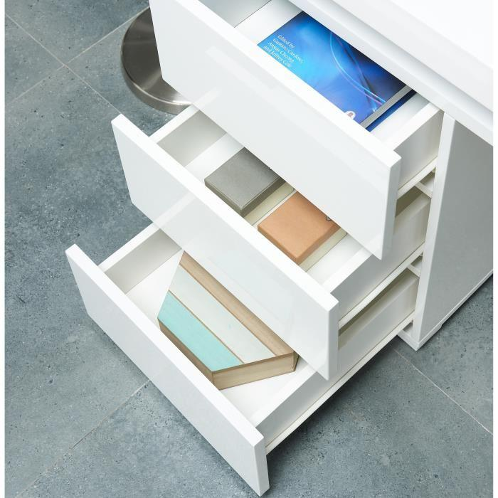 aucune flash bureau 120 cm avec led multicolore blanc brillant 386071. Black Bedroom Furniture Sets. Home Design Ideas