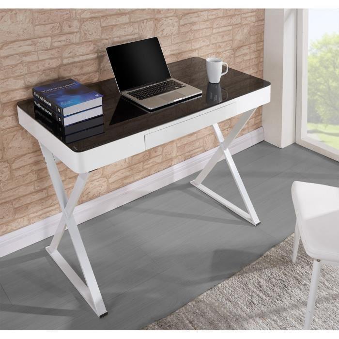 Idesk bureau 110x55x76cm en mdf m tal et verre noir et - Petit bureau en verre ...