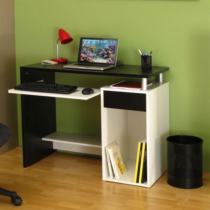 aucune janis bureau 99 cm noir blanc 268472. Black Bedroom Furniture Sets. Home Design Ideas