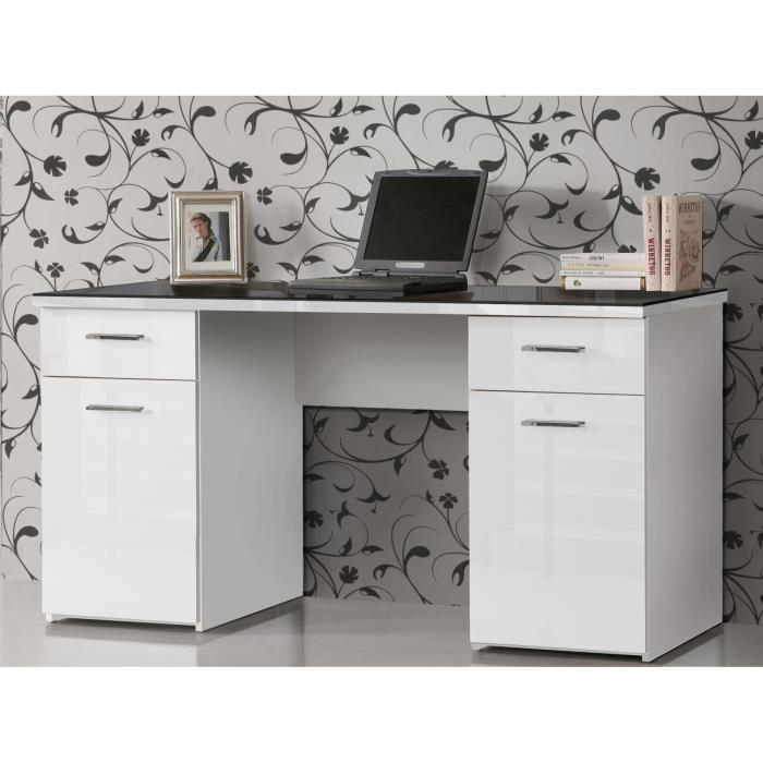 aucune net bureau plateau verre 145 cm blanc noir 273773. Black Bedroom Furniture Sets. Home Design Ideas