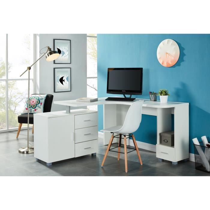 aucune saga bureau d 39 angle 140 cm blanc 379660. Black Bedroom Furniture Sets. Home Design Ideas