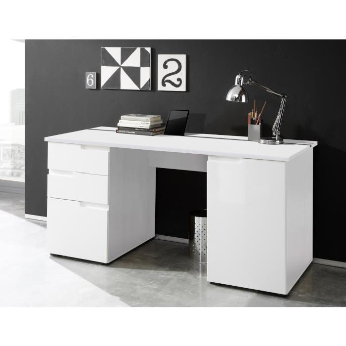 Spice bureau contemporain decor blanc mat et brillant l 158 cm 564687 - Decoration bureau contemporain ...