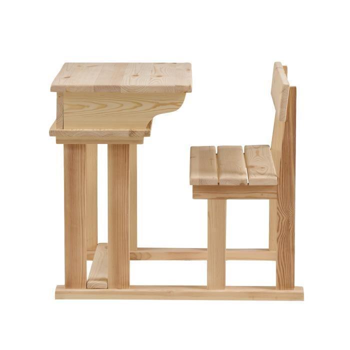 Aucune wood pupitre droit enfant 60 cm en pin massif - Bureau enfant bois massif ...