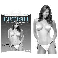 Caches-tetons LRDP - String et Pasties Blanc Fetish Fantasy - Taille L/XL - Pipedream