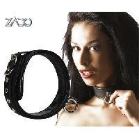 Cagoules et Colliers Zado - Collier en cuir avec anneau decoratif - Noir - Taille 45cm
