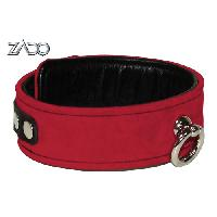 Cagoules et Colliers Zado - Collier en cuir avec anneau decoratif - Rouge - Taille 45cm
