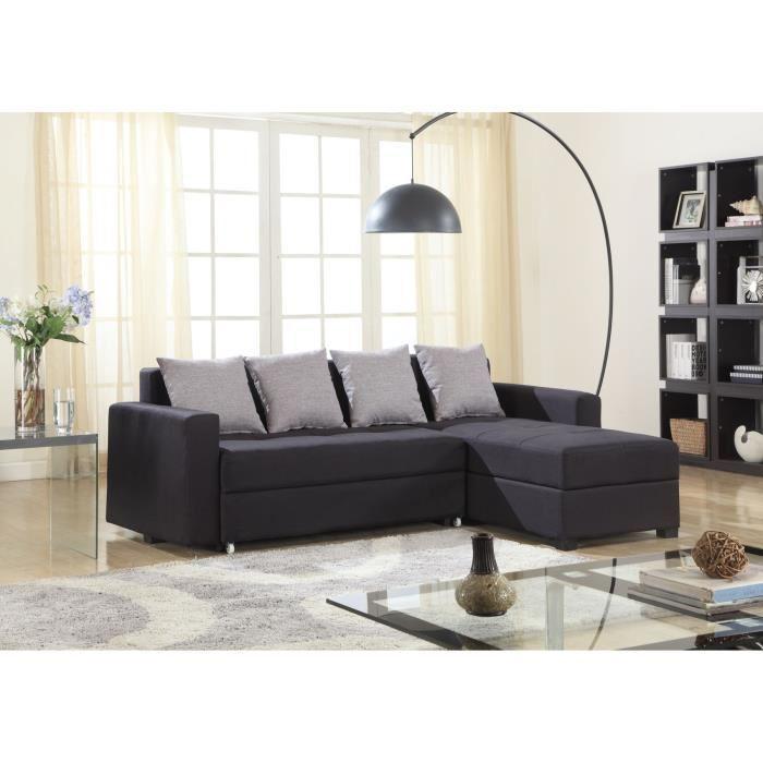 brixton canap convertible lit coffre angle droit 3 places noir 262946. Black Bedroom Furniture Sets. Home Design Ideas