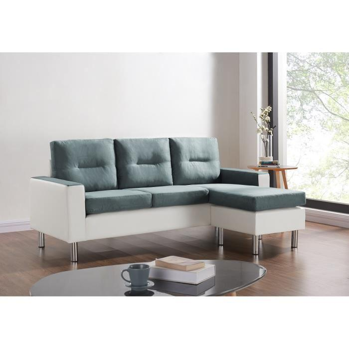 elena canap d 39 angle r versible et modulable en simili et tissu 3 places pouf 193x130x85 cm. Black Bedroom Furniture Sets. Home Design Ideas