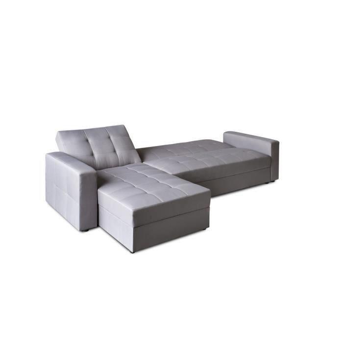 hampton canap d 39 angle convertible r versible 4 places 224x170x86cm gris 286660. Black Bedroom Furniture Sets. Home Design Ideas