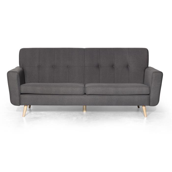 iceland canape droit fixe 3 places 215 x 90 x 96 cm tissu gris fonce 398500. Black Bedroom Furniture Sets. Home Design Ideas