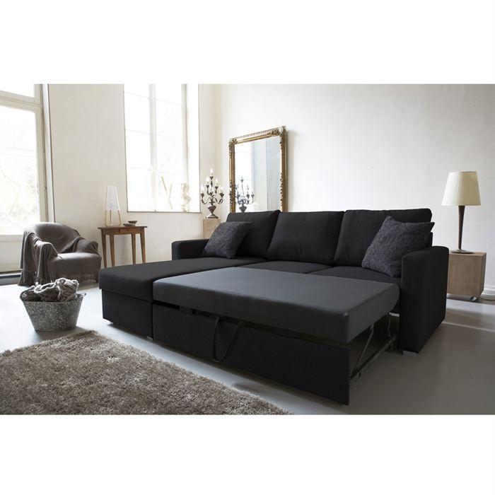 jules canape d 39 angle convertible 4 places 220x166 cm angle reversible tissu noir 262975. Black Bedroom Furniture Sets. Home Design Ideas