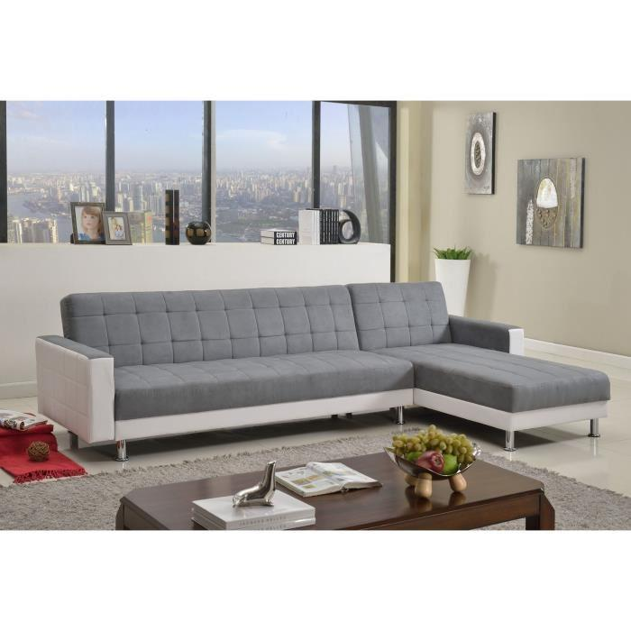 luxury canap convertible lit angle r versible 4 places gris blanc 263012. Black Bedroom Furniture Sets. Home Design Ideas