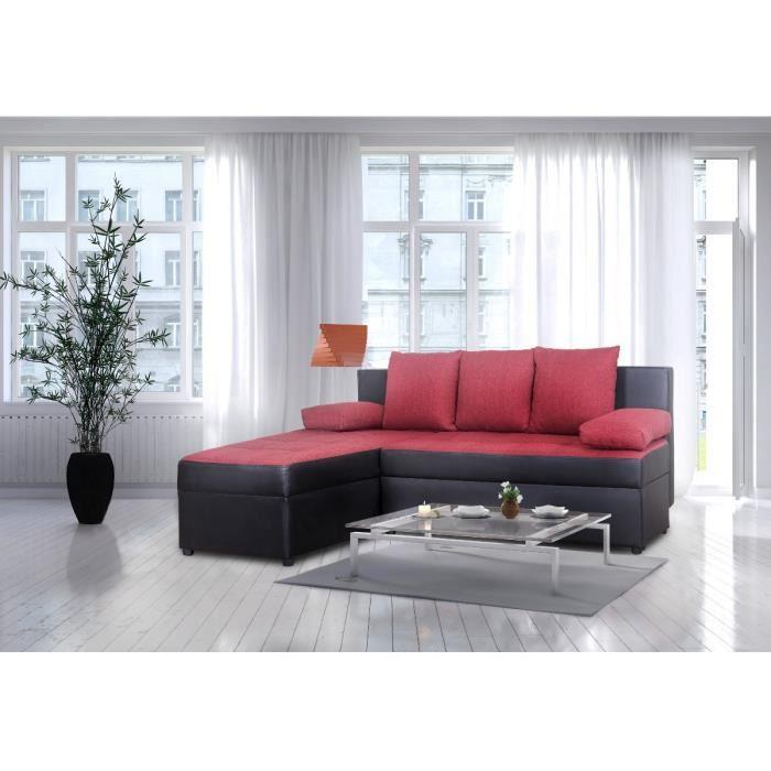 nina canap convertible angle reversible 3 places noir. Black Bedroom Furniture Sets. Home Design Ideas