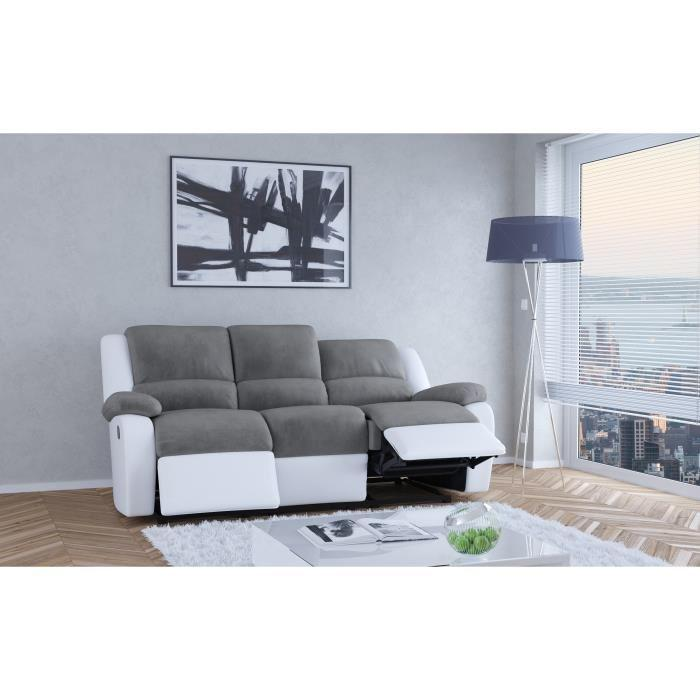 relax canape de relaxation en simili et tissu 3 places 190x93x96 cm gris et blanc 362763. Black Bedroom Furniture Sets. Home Design Ideas