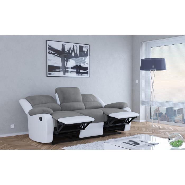 Relax canape de relaxation en simili et tissu 3 places 190x93x96 cm gris et blanc 362763 - Canape gris fly ...