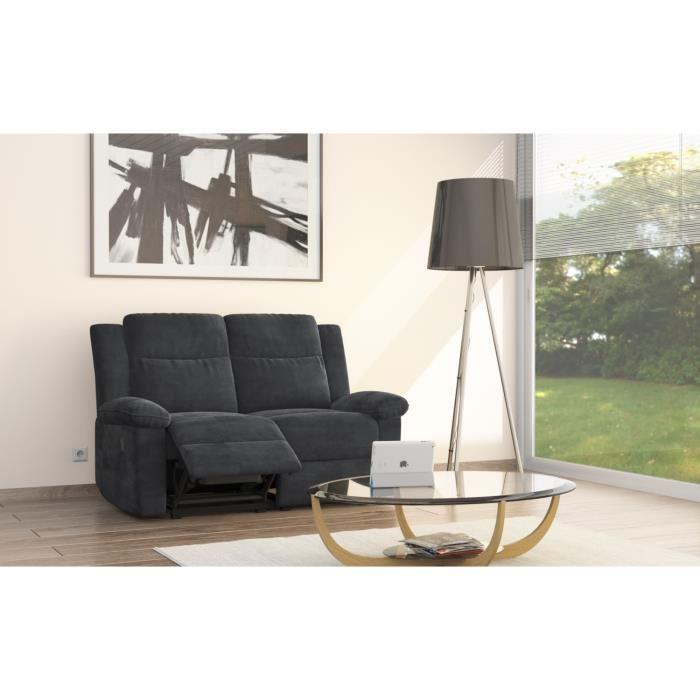 relaxo canape de relaxation 2 places 144x93x96 microfibre noir 263059. Black Bedroom Furniture Sets. Home Design Ideas