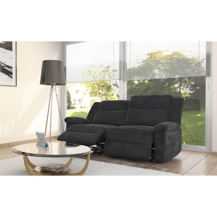 relaxo canape de relaxation 3 places 190x93x96 microfibre noir 263061. Black Bedroom Furniture Sets. Home Design Ideas