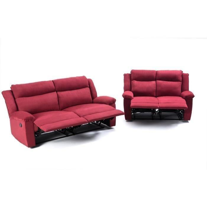 Relaxo ensemble de 2 canap s de relaxation 1 canap 2 for Canape 2 places rouge