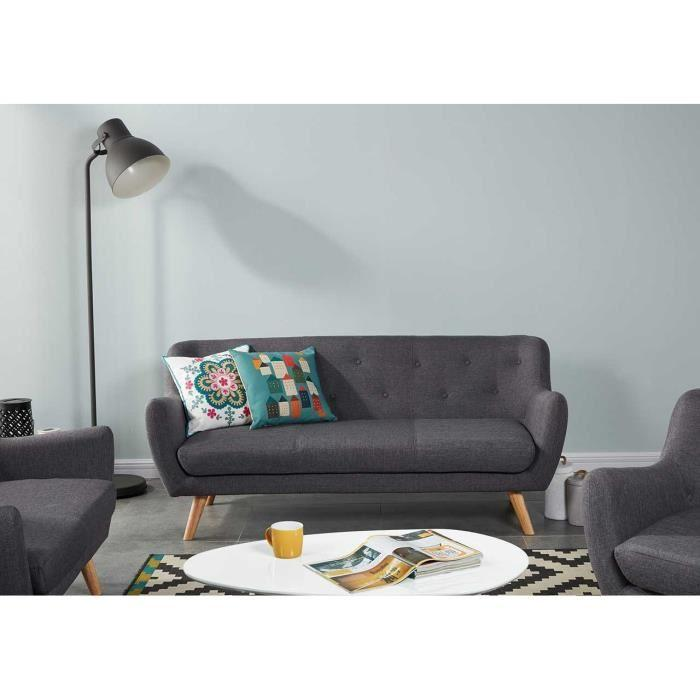 scandi canape fixe 3 places 179x82x79 cm tissu anthracite 348608. Black Bedroom Furniture Sets. Home Design Ideas