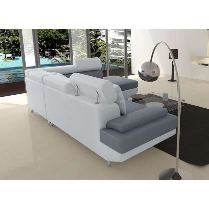 aucune scoop xl canape angle droit 4 places simili gris blanc 262988. Black Bedroom Furniture Sets. Home Design Ideas