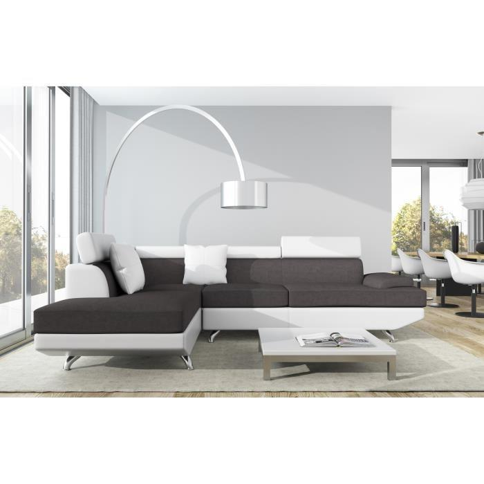 scoop xl canape angle gauche 4 places simili et microfibre gris blanc 262991. Black Bedroom Furniture Sets. Home Design Ideas