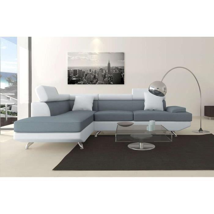 aucune scoop xl canape angle gauche 4 places simili gris blanc 262989. Black Bedroom Furniture Sets. Home Design Ideas