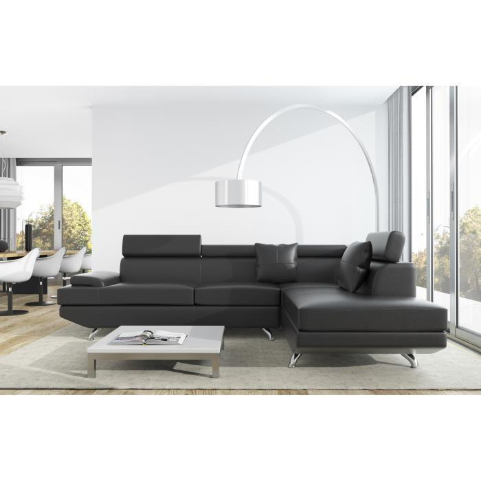 Scoop xl canape d 39 angle droit simili 4 places 259x182x80 - Canape d angle xl ...