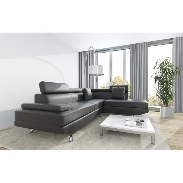 scoop xl canape d 39 angle droit simili 4 places 259x182x80 cm noir 262998. Black Bedroom Furniture Sets. Home Design Ideas