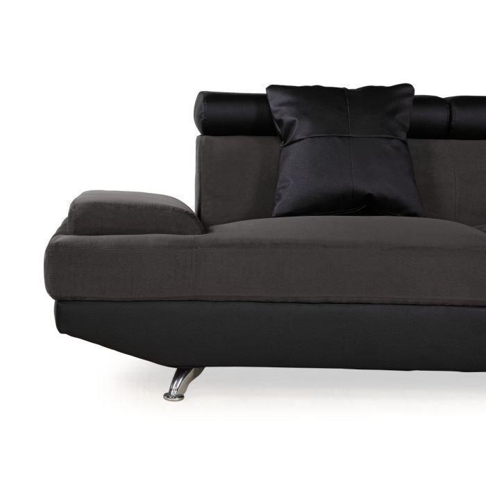 scoop xl canape d 39 angle droit simili et microfibre 4 places 259x182x80 cm gris et noir 262996. Black Bedroom Furniture Sets. Home Design Ideas