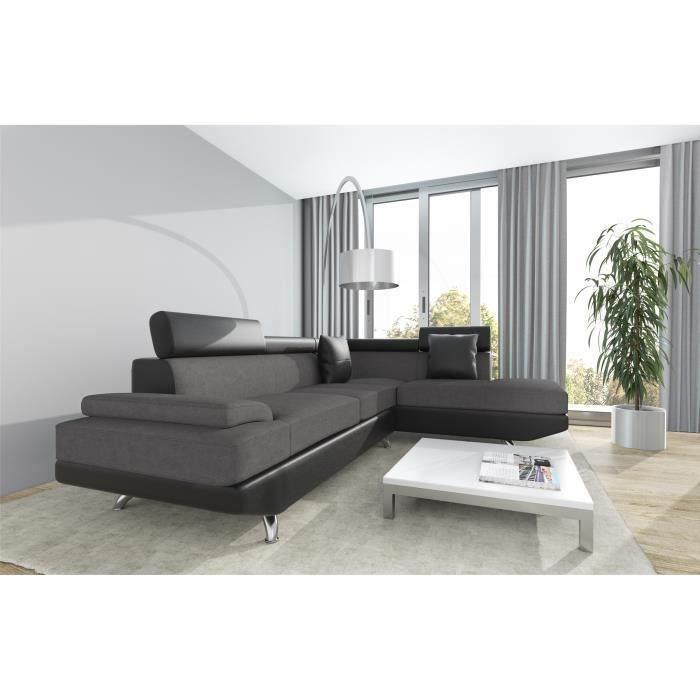 scoop xl canape d 39 angle droit simili et microfibre 4. Black Bedroom Furniture Sets. Home Design Ideas