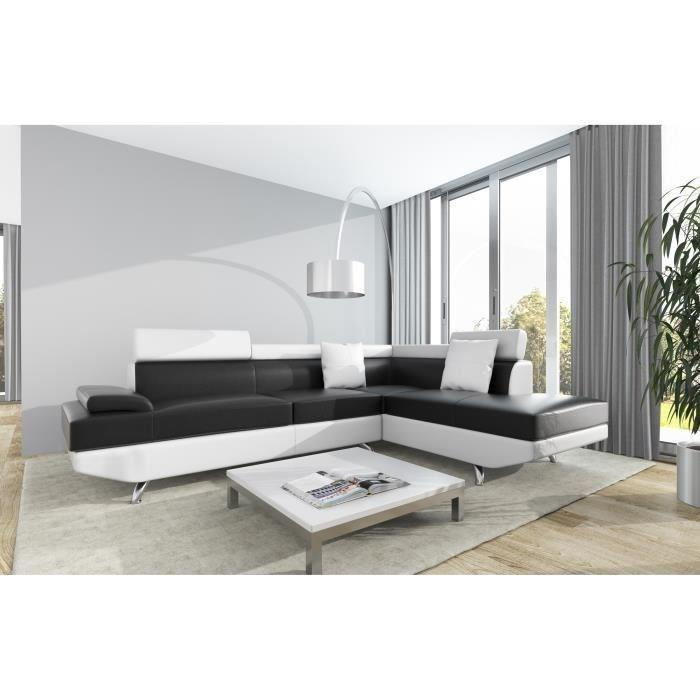 scoop xl canape d 39 angle droit simili et microfibre 4 places 259x182x80 cm noir et blanc 262992. Black Bedroom Furniture Sets. Home Design Ideas