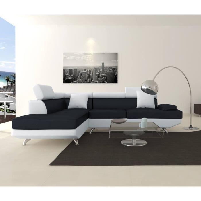 scoop xl canape d 39 angle gauche simili et microfibre 4 places 259x182x80 cm noir et blanc 262993. Black Bedroom Furniture Sets. Home Design Ideas