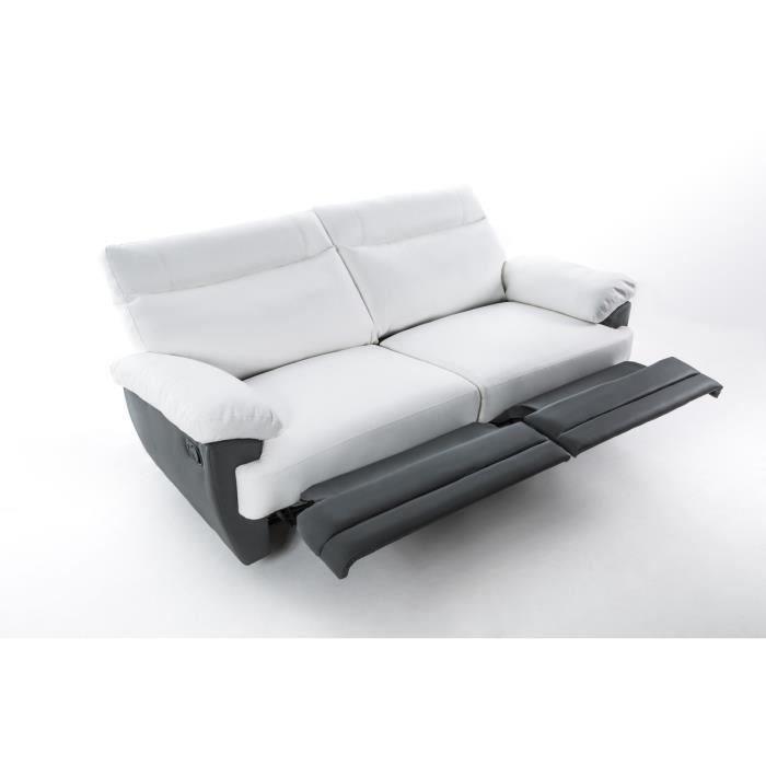 sky canape de relaxation 3 places 190x93x96 simili gris et blanc 263100. Black Bedroom Furniture Sets. Home Design Ideas