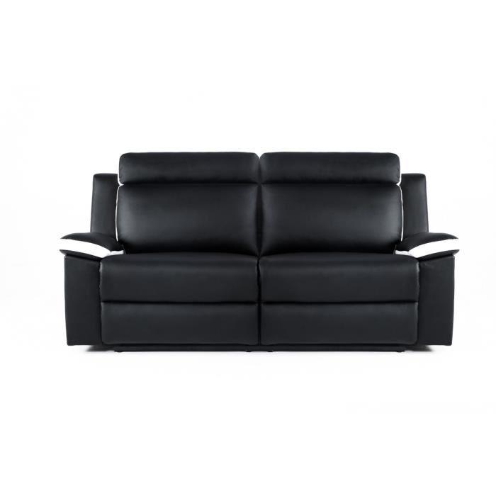 Zen canape de relaxation 3 places 190x93x96 simili noir for Divan 3 places