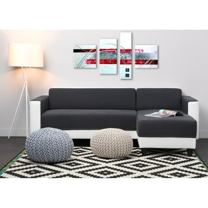 finlandek canape d 39 angle reversible kulma 4 places 205x141x70 cm tissu gris fonce et blanc. Black Bedroom Furniture Sets. Home Design Ideas