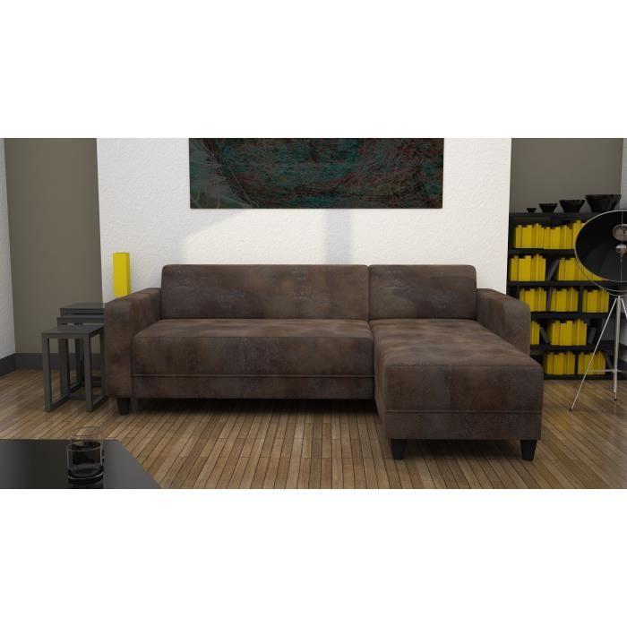 fjord canape droit fixe 3 places 215 x 88 x 75 cm tissu gris fonce 398234. Black Bedroom Furniture Sets. Home Design Ideas
