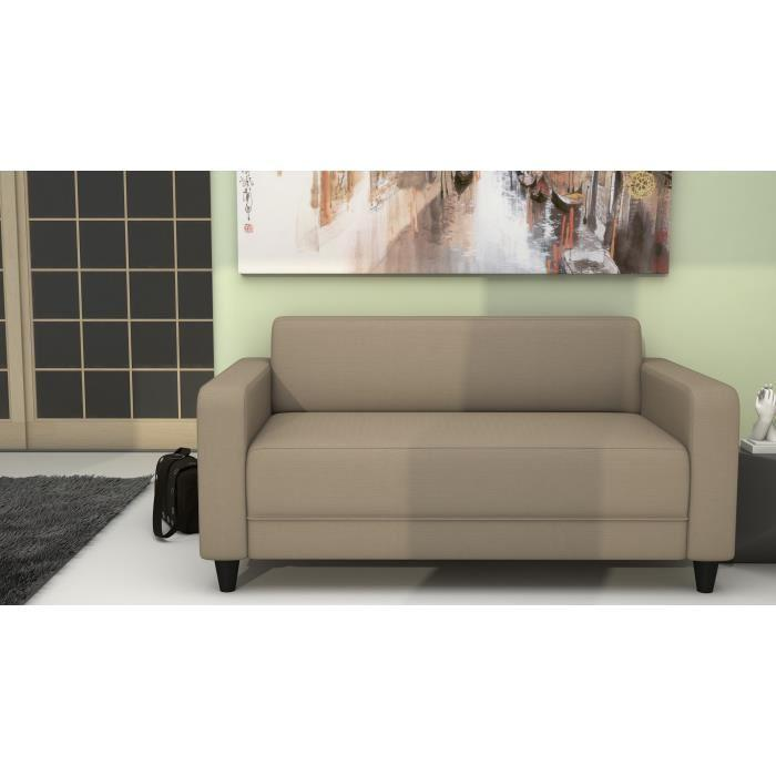finlandek canape droit fixe kulma 2 places 145x79x70 cm tissu taupe 366546. Black Bedroom Furniture Sets. Home Design Ideas