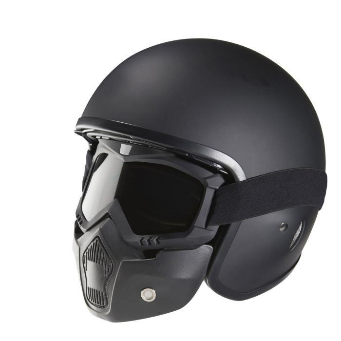 nox helmets nox n237 casque jet noir mat avec masque. Black Bedroom Furniture Sets. Home Design Ideas