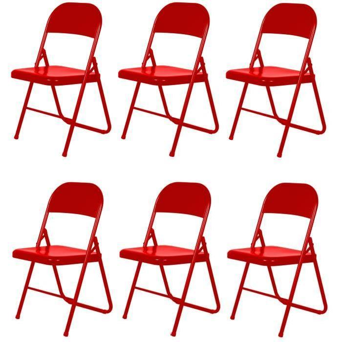aucune america lot de 6 chaises pliantes rouges 526596. Black Bedroom Furniture Sets. Home Design Ideas