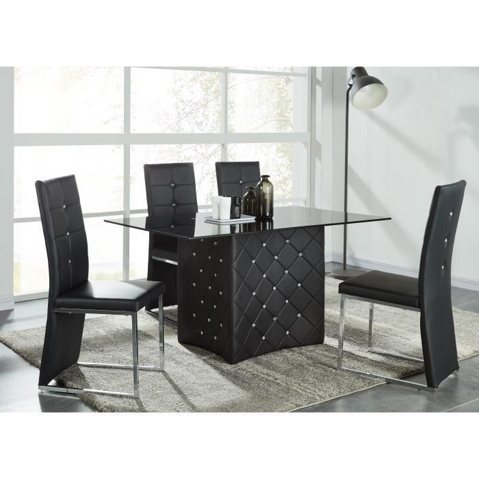 aucune bling lot de 2 chaises de salle a manger strass noires 305242. Black Bedroom Furniture Sets. Home Design Ideas