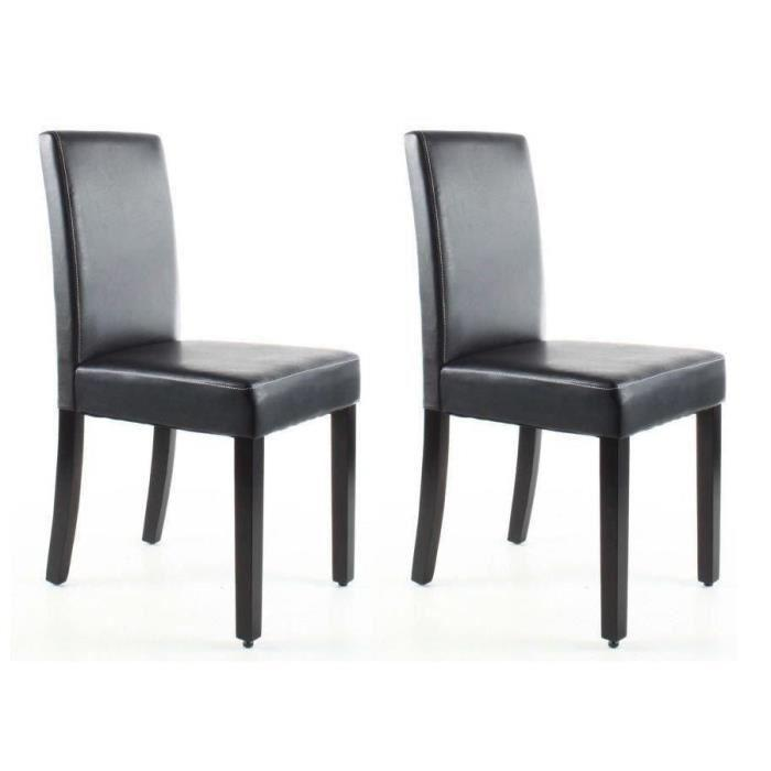 Aucune clara lot de 2 chaises de salle a manger marron - Chaises classiques salle manger ...