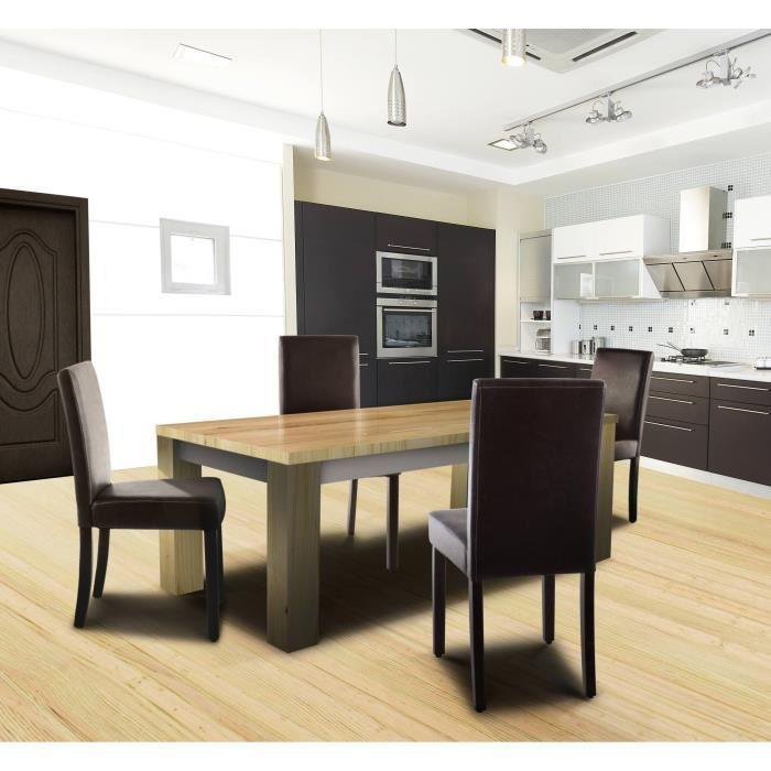 aucune clara lot de 2 chaises de salle a manger marron. Black Bedroom Furniture Sets. Home Design Ideas