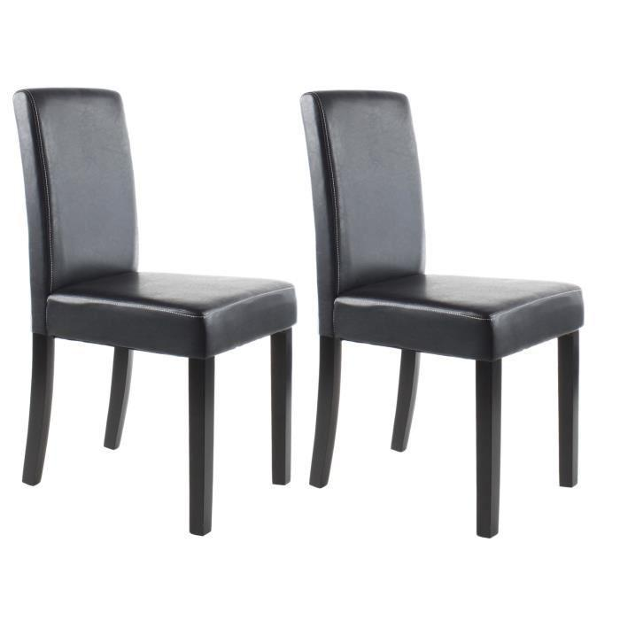 aucune clara lot de 2 chaises de salle a manger noires. Black Bedroom Furniture Sets. Home Design Ideas