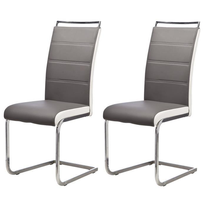 aucune dylan lot de 2 chaises de salle a manger coloris gris 236564. Black Bedroom Furniture Sets. Home Design Ideas