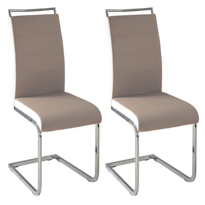 aucune dylan lot de 2 chaises gris taupe blanc 236569. Black Bedroom Furniture Sets. Home Design Ideas