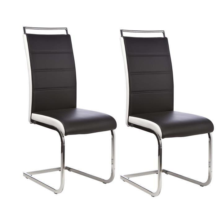 aucune dylan lot de 2 chaises noir blanc 297685. Black Bedroom Furniture Sets. Home Design Ideas