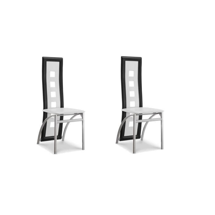 eiffel lot de 2 chaises de salle a manger noires et blanches simili et aluminium design 275947. Black Bedroom Furniture Sets. Home Design Ideas
